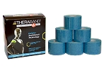 TheraBand Kinesiology Tape Standard Roll, 6 pack - Blue/Blue Print