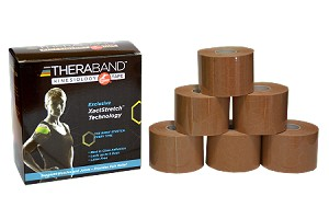 TheraBand Kinesiology Tape Standard Roll, 6 pack - Beige/Beige Print