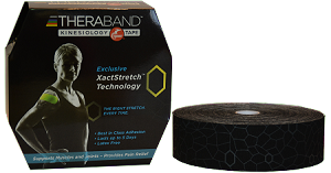 "TheraBand Kinesiology Tape Bulk Roll, 2"" x 103.3' - Black/Gray Print"