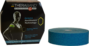 "TheraBand Kinesiology Tape Bulk Roll, 2"" x 103.3' - Blue/Blue Print"