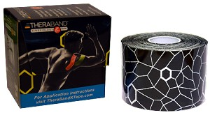 "TheraBand Kinesiology Tape Precut Roll, (20) 2"" x 10"" strips - Black/White Print"