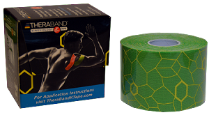 "TheraBand Kinesiology Tape Standard Roll, 2"" x 16.4' - Electric Green/Yellow Print"