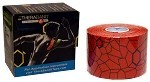 "TheraBand Kinesiology Tape Precut Roll, (20) 2"" x 10"" strips - Hot Red/Black Print"